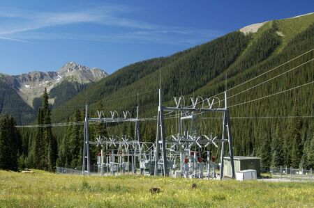 high voltage: Electrical power substation in a power grid. Stock Photo