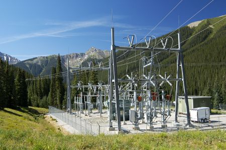 substation: Electrical power substation in a power grid. Stock Photo