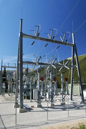 insulators: Electrical power substation in a power grid. Stock Photo