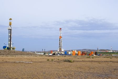 oilwell: new oil and gas drilling activity in Wyoming Stock Photo