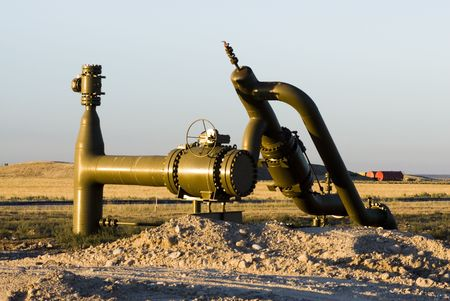pipeline valve in a new oil and gas drilling area in Wyoming