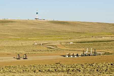 oil and gas industry: new oil and gas drilling activity in Wyoming Stock Photo