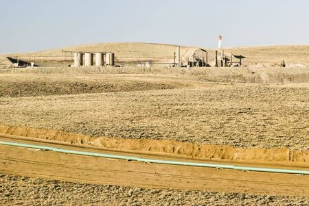well platform: new oil and gas drilling activity in Wyoming Stock Photo
