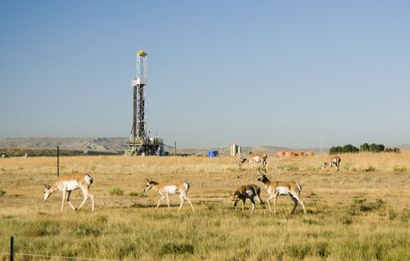 oilfield: new oil and gas drilling activity in Wyoming Stock Photo