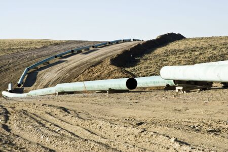 oilfield: pipeline construction through a gas field in Wyoming Stock Photo
