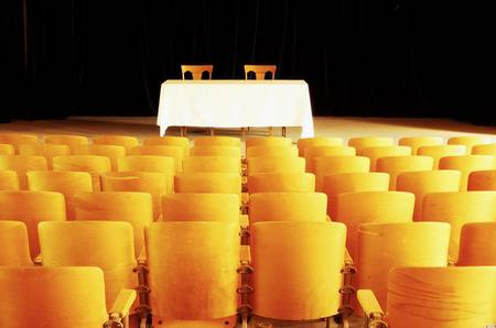 Empty seats and stage in a vintage theatre. Stock Photo