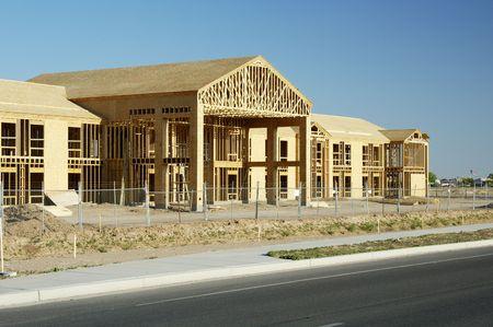 A suburban office building under construction.