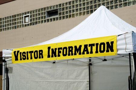 visitor information sign on a portable tent Reklamní fotografie