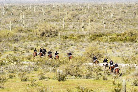 troops retreat during a civil war reenactment at Picacho Peak State Park, Arizona Reklamní fotografie