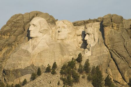 Early morning view of Mount Rushmore National Monument in the Black Hills of South Dakota.