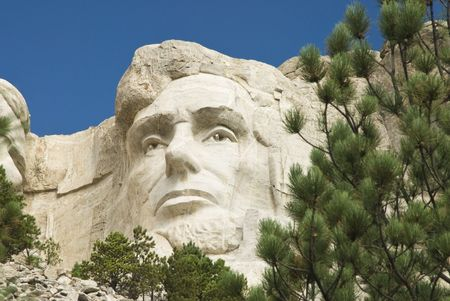 closeup view of Abraham Lincoln on Mount Rushmore National Monument in the Black Hills of South Dakota.