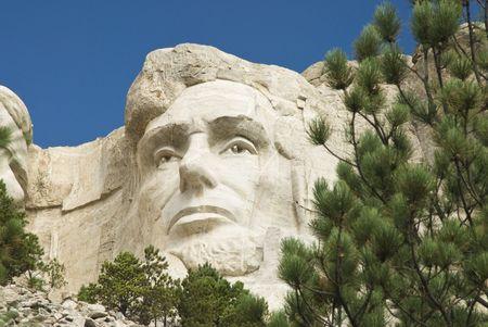 south dakota: view closeup di Abraham Lincoln, sul Monte Rushmore National Monument nelle Black Hills del South Dakota.