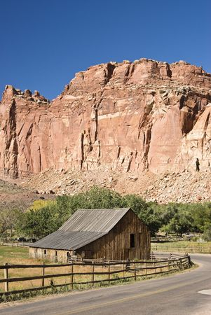 capital of colorado: scenic view of Gifford farm in Capital Reef National Park Stock Photo