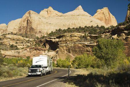 recreational vehicle: recreational vehicle touring Capital Reef national Park in Utah