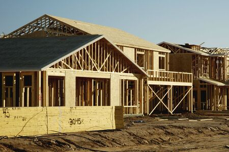 housing development: Home construction in a new residential development.