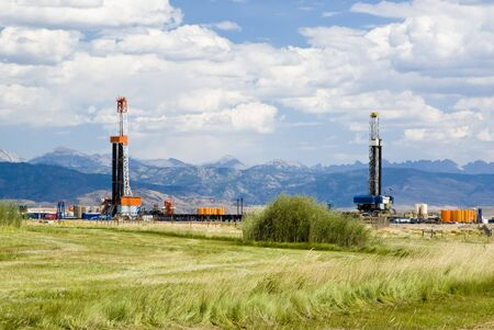 an oil drilling rigs in the oil fields of Wyoming photo