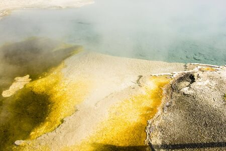 colorful abstract pattern in nature in the geyser basins of Yellowstone National Park photo