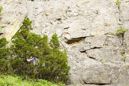 prayer tower: Preghiera panni degli alberi in Devils Tower National Monument in Wyoming