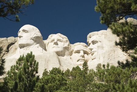 closeup view of Mount Rushmore National Monument in the Black Hills of South Dakota.