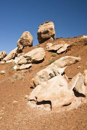 balanced rocks: view of balanced rocks in Capital Reef National Park Stock Photo
