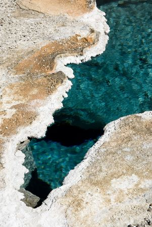 abstract patterns in the thermal hot springs in Yellowstone National Park photo