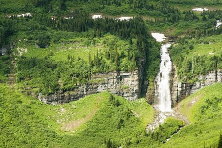 Waterfalls along the Going to the Sun Road in Glacier National Park