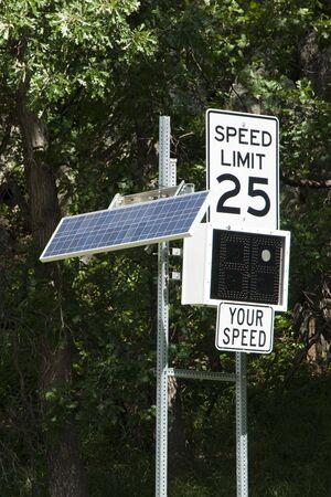 Solar powered radar measured speed indicator sign