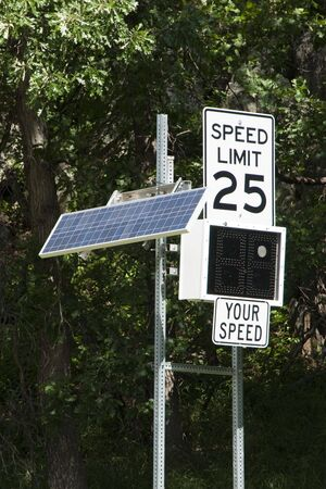 Solar powered radar measured speed indicator sign