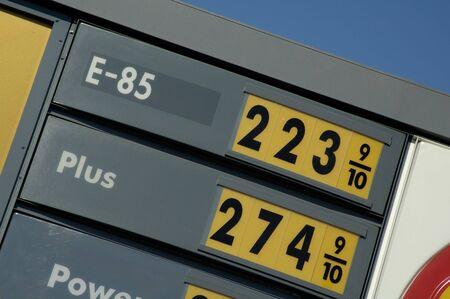 Los precios de los E-85 y la gasolina en una gasolinera en el medio oeste.