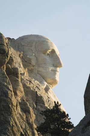 honest abe: profile view of George Washington on Mount Rushmore National Monument in the Black Hills of South Dakota. Editorial
