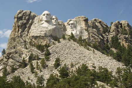 honest abe: full view of Mount Rushmore National Monument in the Black Hills of South Dakota.