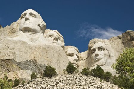 honest abe: closeup view of Mount Rushmore National Monument in the Black Hills of South Dakota.