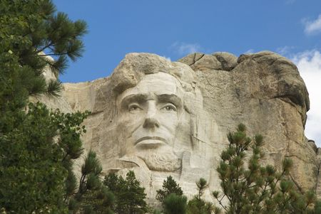 honest abe: closeup view of Abraham Lincoln on Mount Rushmore National Monument in the Black Hills of South Dakota.