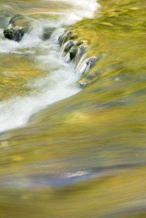 Fall colors reflecting in the flowing waters of Spearfish Creek in the Black Hills of South Dakota photo