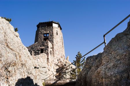 Mountain goat at the fire lookout station on Harney Peak photo