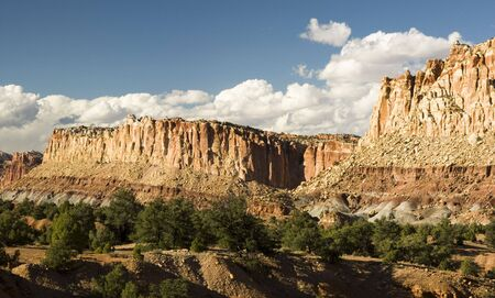 view of sandstone formations along the scenic drive in Capital Reef National Park