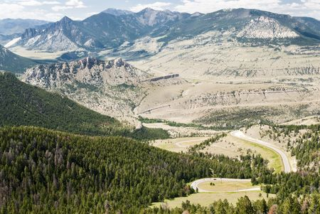 View of the mountains and valleys from Dead Indian Pass along the Chief Joseph Scenic Byway in Wyoming. Stock Photo - 5487123