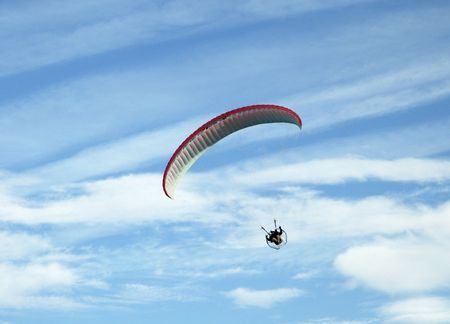 Paragliding pilots in the air photo