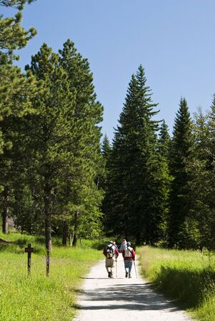 hikers on the trail to Harney Peak in Custer State Park in Black Hills of South Dakota Reklamní fotografie