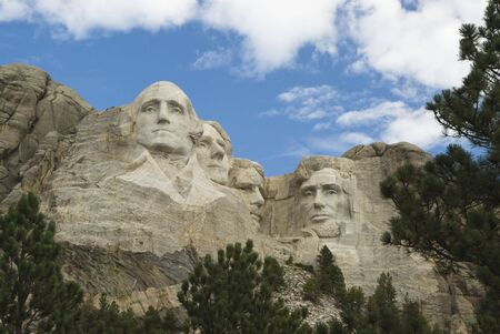 close view of Mount Rushmore National Monument in the Black Hills of South Dakota.