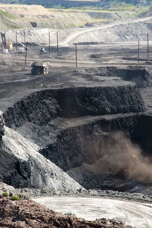 open pit: coal mining operations in Wyoming