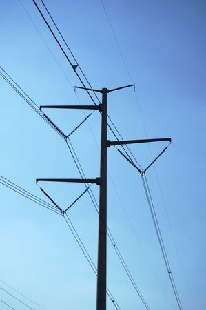 electric grid: Power transmission lines in an electrical grid. Stock Photo
