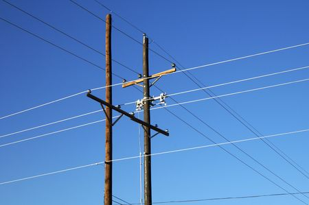 Power transmission lines in an electrical grid. Reklamní fotografie
