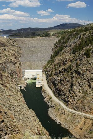 Hydroelectric dam and electric generating station on the Gunnison River in Colorado.