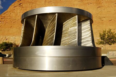 spillway: Hydroelectric turbine in display at the Glen Canyon Dam site.
