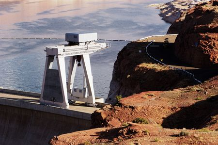 Large industrial crane installed at a hydroelectric dam.                                 Reklamní fotografie