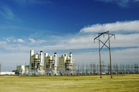 Electric power plant and transmission lines.