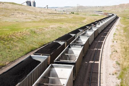 rail cars loaded with coal being transported from nearby mines to power plants in Wyoming