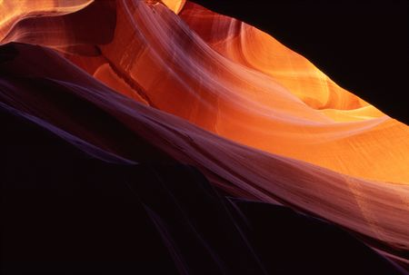 Light reflects off the sandstone walls of Antelope  Canyon. Stock Photo