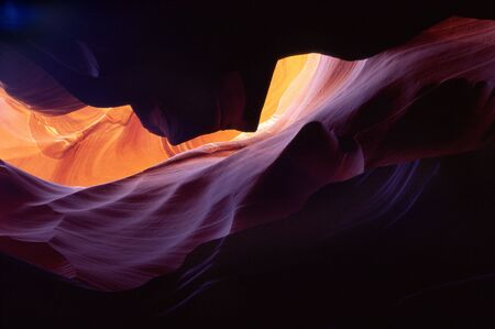 stratification: Light reflects off the sandstone walls of Antelope Canyon